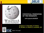 STATISTICAL PROPERTIES OF THE WIKIGRAPH