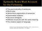 Syntactic Rules Must Account  for the Following