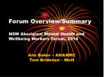 Forum Overview/Summary NSW Aboriginal Mental Health and Wellbeing Workers Forum, 2014