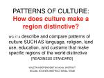 PATTERNS OF CULTURE:  How does culture make a region distinctive?