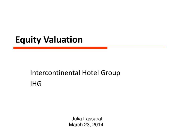 equity valuation n.