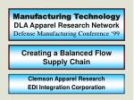 Manufacturing Technology DLA Apparel Research Network Defense Manufacturing Conference '99