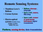 Remote Sensing Systems