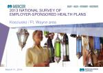 2013 NATIONAL SURVEY OF EMPLOYER-SPONSORED HEALTH PLANS Kosciusko / Ft. Wayne area