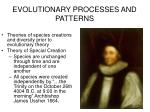 EVOLUTIONARY PROCESSES AND PATTERNS
