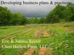 Developing business plans & practices