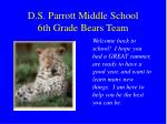 D.S. Parrott Middle School 6th Grade Bears Team