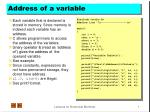 Address of a variable