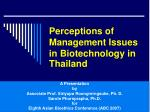 Perceptions of Management Issues in Biotechnology in Thailand