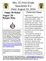 Mrs. O's First Grade Newsletter # 2 Date: August 22, 2014