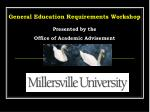 General Education Requirements Workshop Presented by the  Office of Academic Advisement