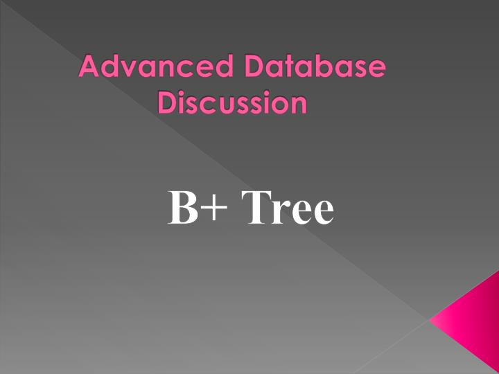 advanced database discussion n.
