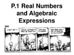 P.1 Real Numbers and Algebraic Expressions