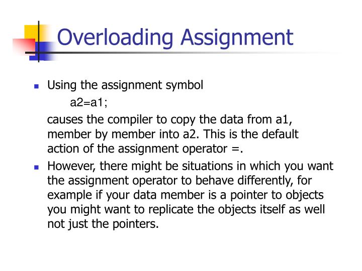 overloading assignment n.