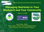 Webcast Sponsored By EPA's Watershed Academy