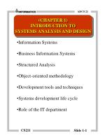 Information Systems Business Information Systems  Structured Analysis Object-oriented methodology
