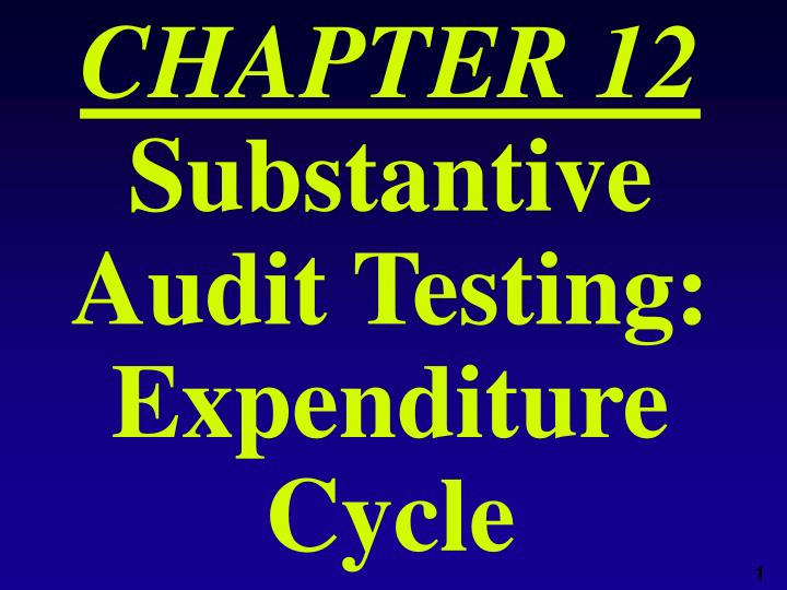 chapter 12 substantive audit testing expenditure cycle n.