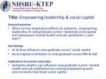Title: Empowering leadership & social capital