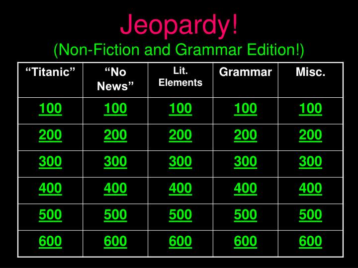 jeopardy non fiction and grammar edition n.