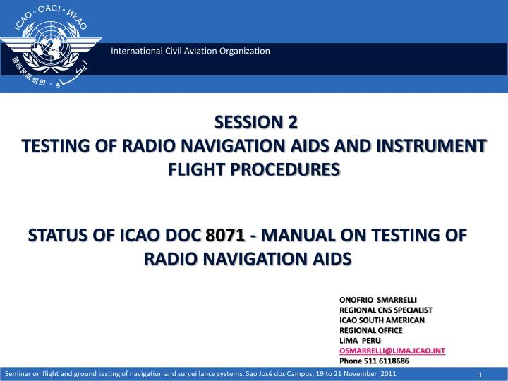 session 2 testing of radio navigation aids and instrument flight procedures n.