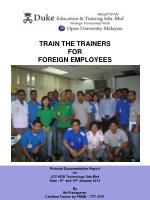 TRAIN THE TRAINERS FOR  FOREIGN EMPLOYEES