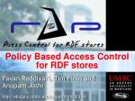 Policy Based Access Control for RDF stores