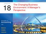 The Changing Business Environment: A Manager's Perspective