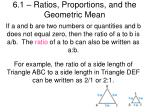 6.1 – Ratios, Proportions, and the Geometric Mean