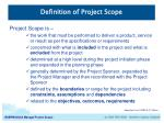 Definition of Project Scope