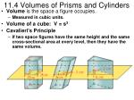 11.4 Volumes of Prisms and Cylinders