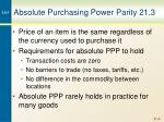 Absolute Purchasing Power Parity 21.3