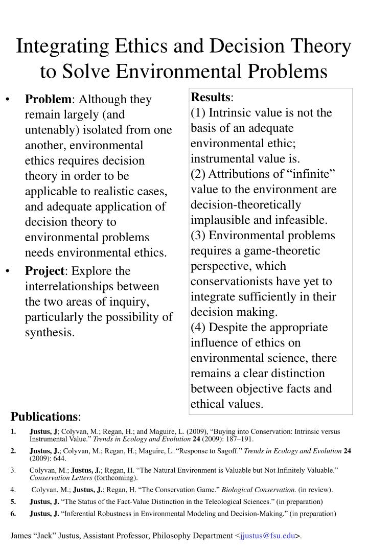 integrating ethics and decision theory to solve environmental problems n.