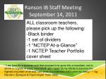 Ranson IB Staff Meeting September 14, 2011