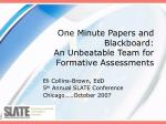 One Minute Papers and Blackboard: An Unbeatable Team for Formative Assessments