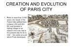 CREATION AND EVOLUTION OF PARIS CITY