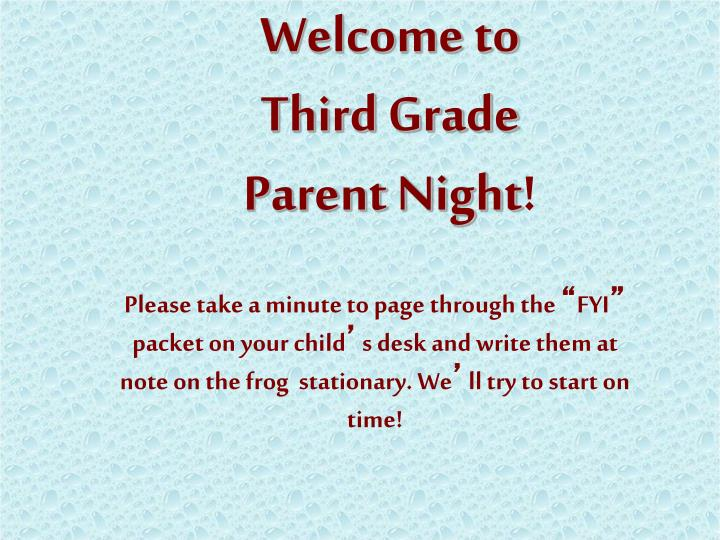 Ppt Welcome To Third Grade Parent Night Powerpoint Presentation