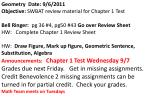 Geometry  Date: 9/6/2011  Objective: SWBAT  review material for Chapter 1 Test
