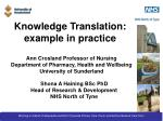 Knowledge Translation: example in practice