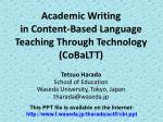 Academic Writing in Content-Based Language Teaching Through Technology (CoBaLTT)