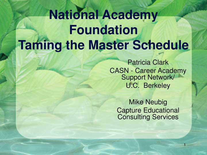 national academy foundation taming the master schedule n.