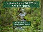 Implementing  the EG WFD in Swedish  Forestry