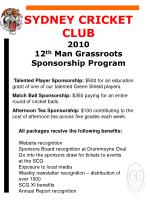 SYDNEY CRICKET CLUB 2010 12 th Man Grassroots Sponsorship Program