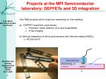 Projects at the MPI Semiconductor laboratory: DEPFETs and 3D integration