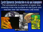 Earth's Resources: Introduction to Air and Atmosphere
