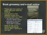 Book giveaway and e-mail notice