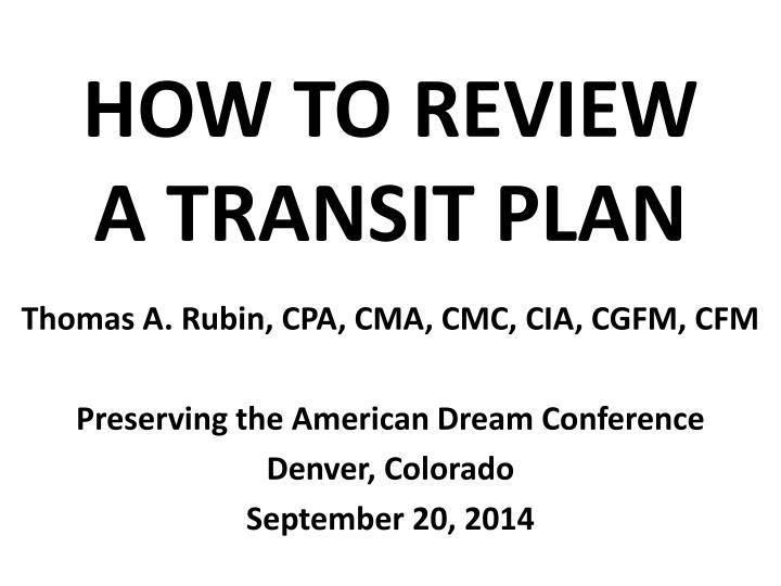 how to review a transit plan n.