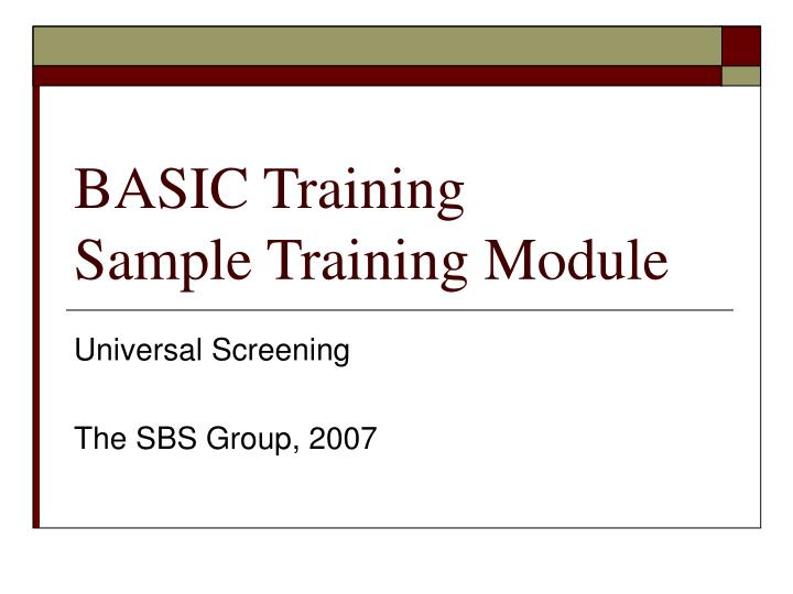 basic training sample training module n.