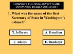 What was the name of the first Secretary of State in Washington's cabinet?
