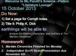 """Welcome to Mr. Pandit's Science –Fiction  """"Literature Lounge"""""""