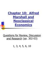 Chapter 10: Alfred Marshall and Neoclassical Economics